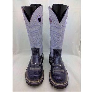 ARIAT Fatbaby Purple Croc Print Hearts Boots 9B